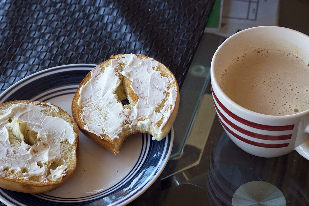 bagel and latte