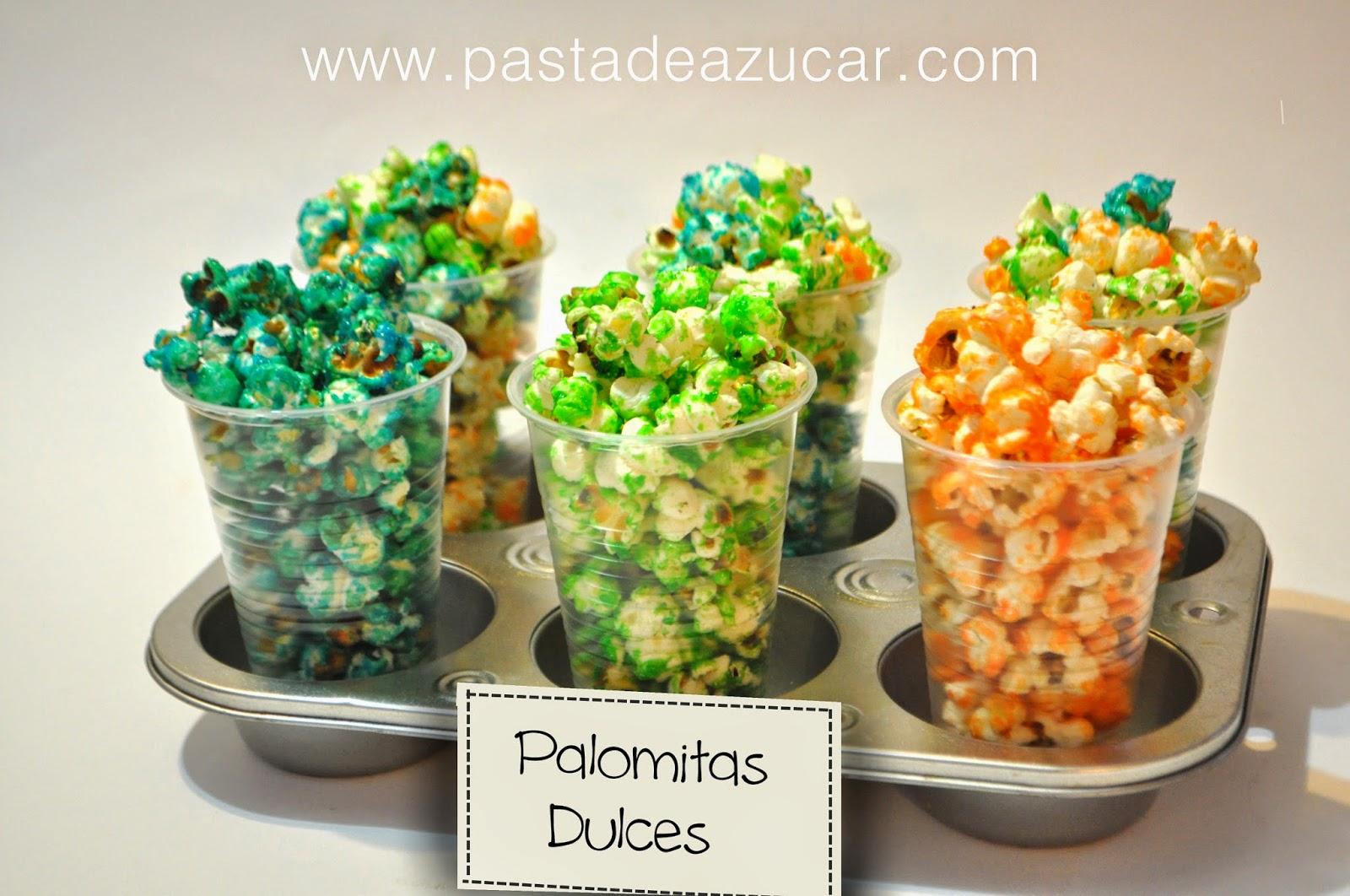 Pasta de Azucar: Palomitas dulces de colores... Fácil y divertido.