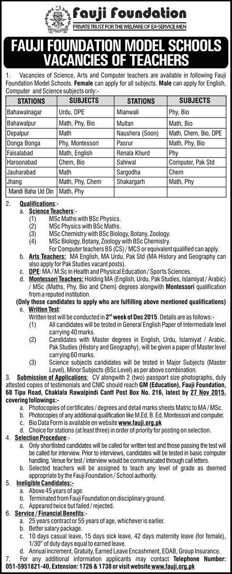 Teachers Jobs at Fauji Foundation Model Schools