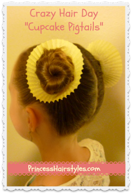"crazy hair day ""cupcake pigtails"""