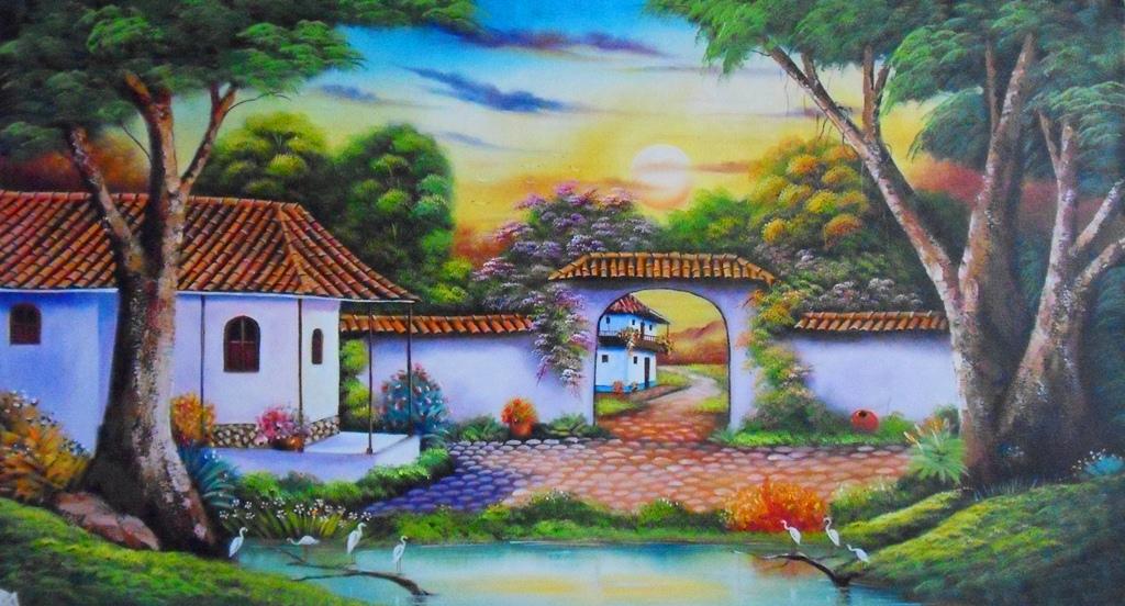 Im genes arte pinturas cuadros decorativos paisajes al - Cuadros faciles de copiar ...