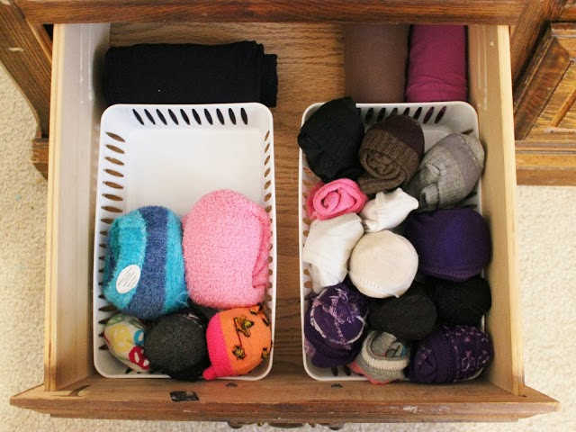 Sock drawer organization | OrganizingMadeFun.com