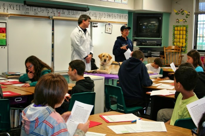cabana is laying on top of a desk with her Canine Good Citizen vest on, there is a veterinarian in a white coat and an instructor nearby, as they stand in front of a class of students at their desks