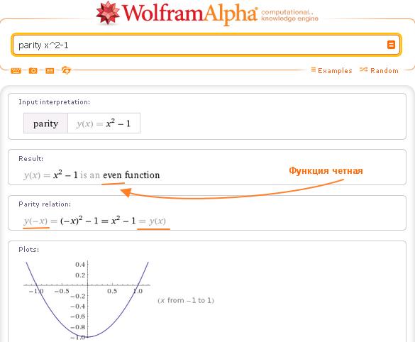 пример нечетной функции: