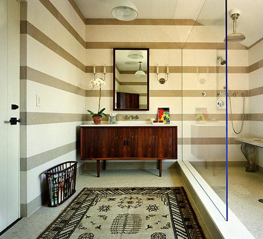 mid century credenza bathroom