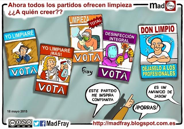 Viñeta: Todos los partidos prometen limpieza ante la corrupción, ¿Quién dice la verdad?