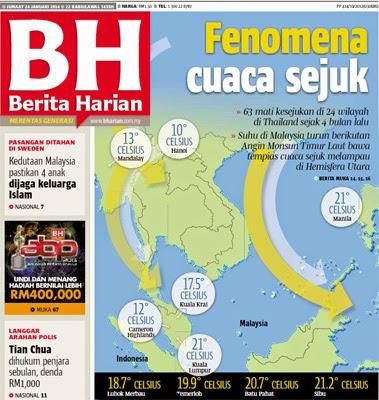 Punca berlakunya cuaca sejuk di Malaysia