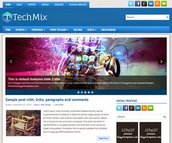 Techmix premium template,1 Sidebar,2 Column, 3 Column footer, Adapted from WordPress, Blue, Elegant, Featured Section, Fixed width, Responsive, Fresh, Magazine, Premium, Right Sidebar, Slider, Tabbed widget, Top Navigation Bar, Web 2.0, White,premium free templates,free,blogger,templates