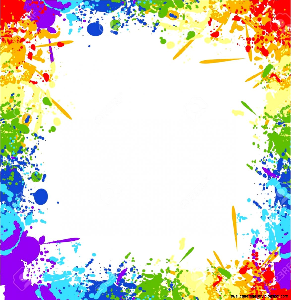 colorful page border - colorful paint splatter border wallpapers gallery