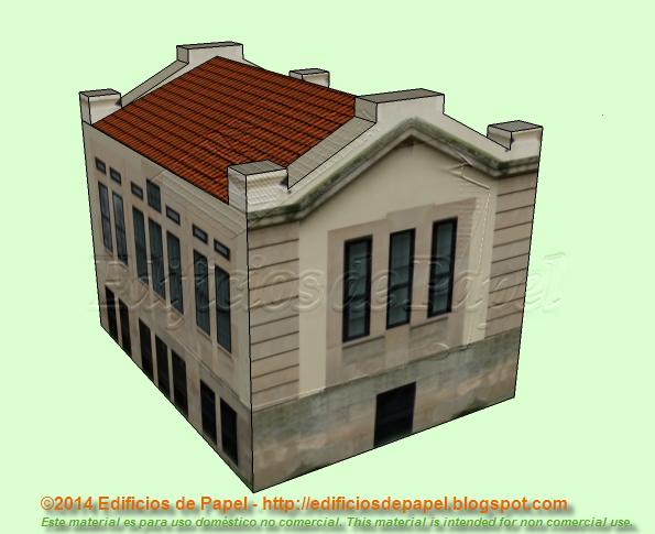Maqueta de papel de un antiguo pabellón del Hospital de Ourense