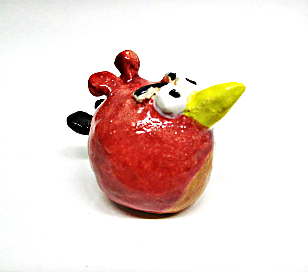 Clay Angry Bird Sculpture by Beth Hemmila of Hint Jewelry