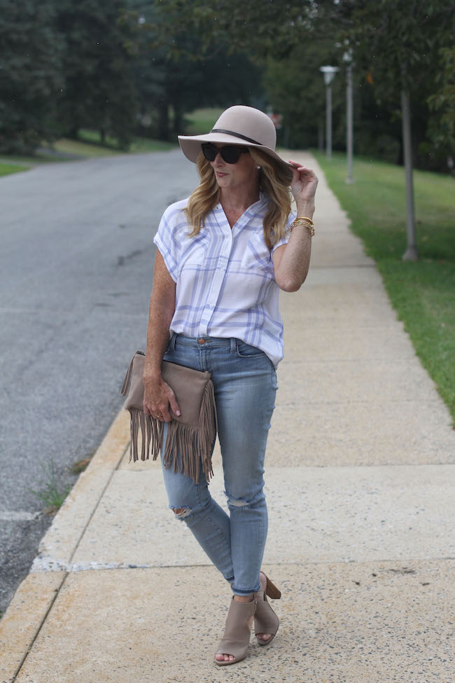 nordstrom hat, rails shirt, j brand jeans, vince booties, mango clutch