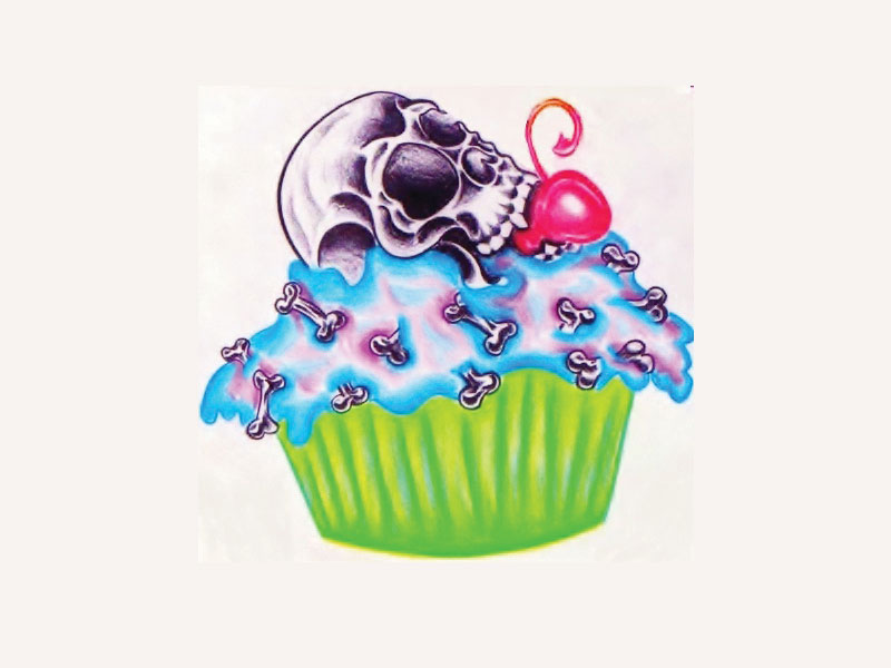 Cake Artist Meaning : Skull On Colorful CupCake tattoo design Tattoo Lawas