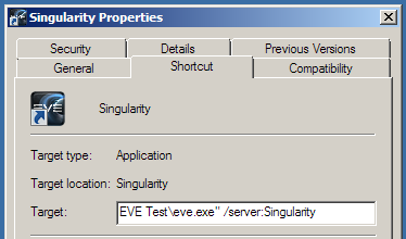 Eveolution all about the test server singularity next we want to go to the shortcut tab and add some additional flags to the target we start by adding serversingularity to the end of the command as malvernweather Image collections