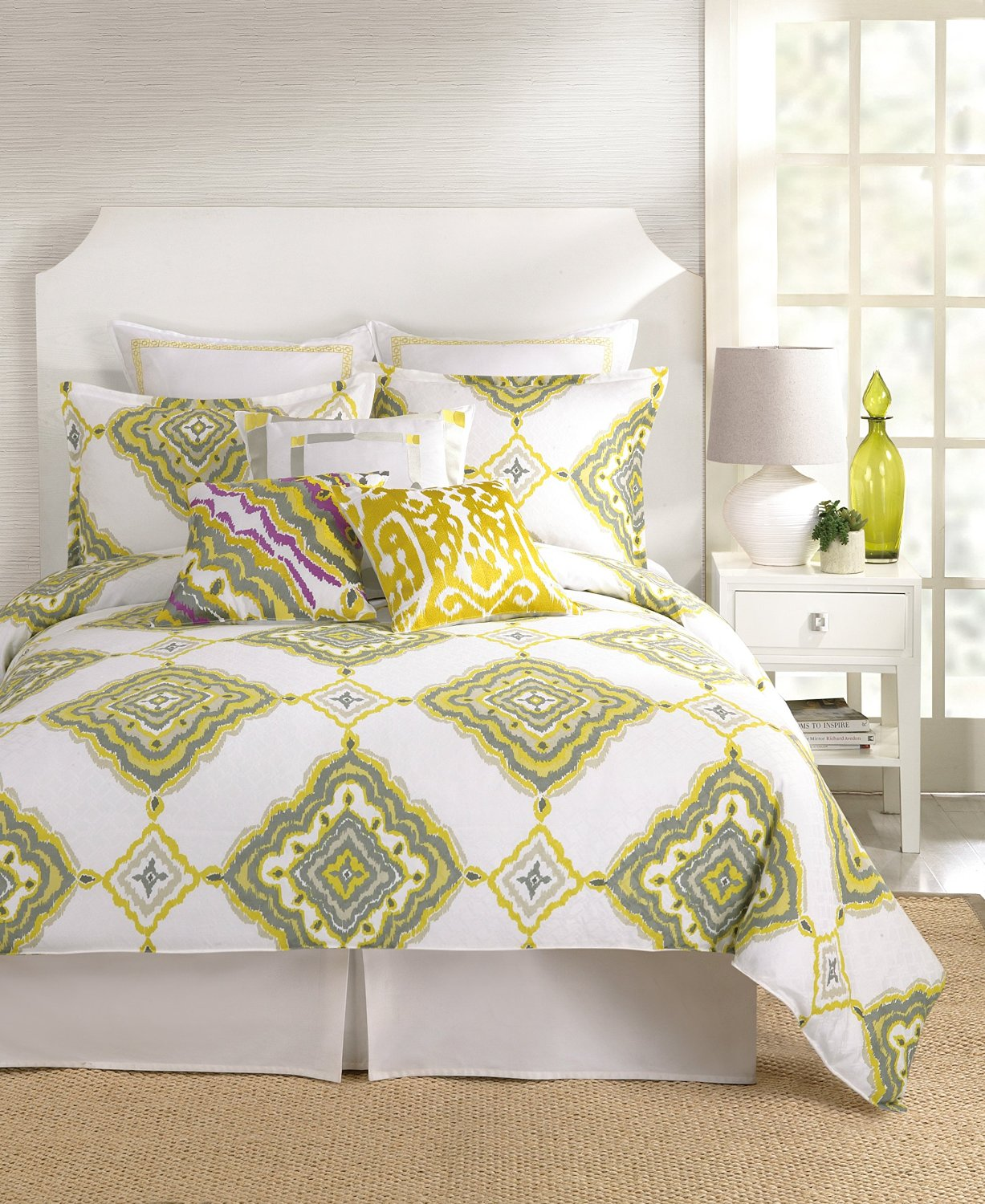 Trina Turk 3 Piece Bedding Set In White U0026 Mustard Yellow