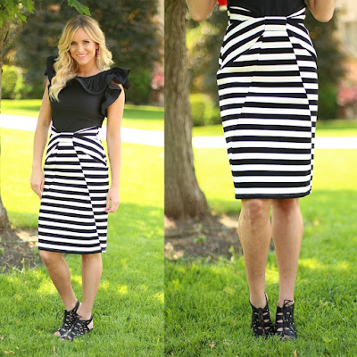 Black and White Striped Skirt from Flourish Boutique