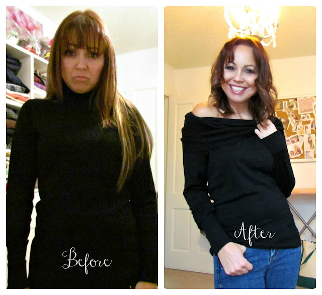 deconstructed sweater, turtleneck to cowlneck, easy sewing