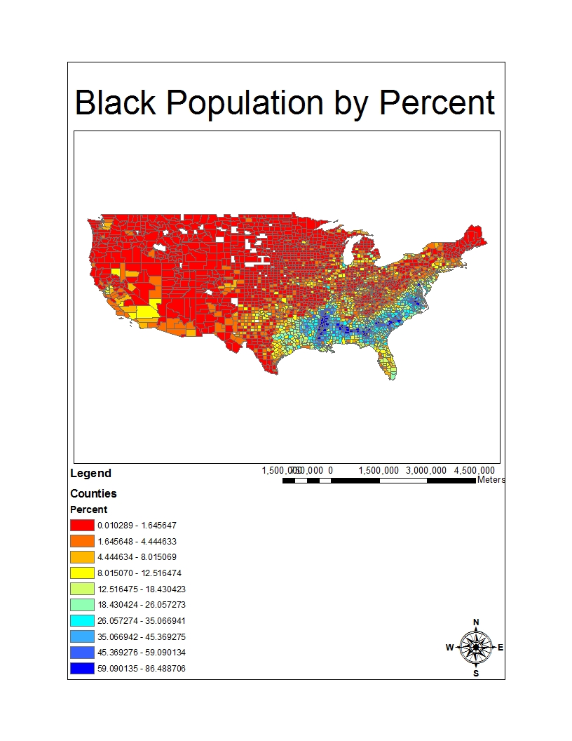 this map represents data collected in the 2000 us census concerning the concentration of the black population of the country the data is divided according