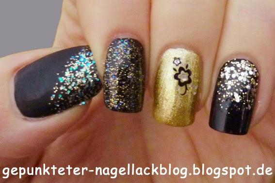 gepunkteter nagellackblog nageldesign gold schwarz. Black Bedroom Furniture Sets. Home Design Ideas