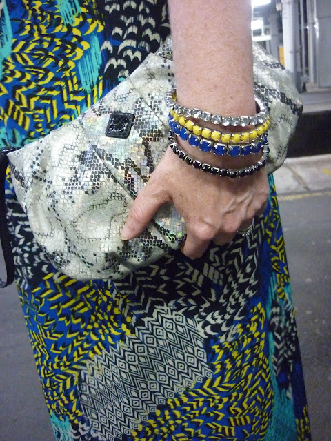 Snakeskin Clutch & Yellow & Blue Bracelet Set | Petite Silver Vixen