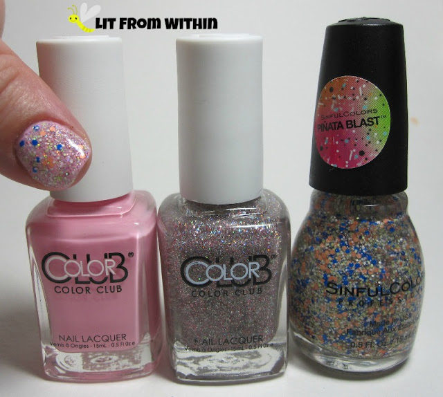 Bottle shot: Color Club I Believe In Amour, Color Club Magic Attraction, and Sinful Colors Baila, Baila.