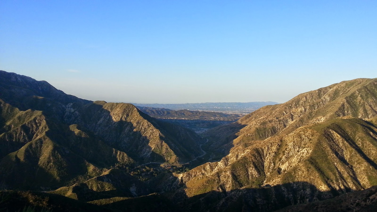 early morning view down big tujunga canyon from gold creek road