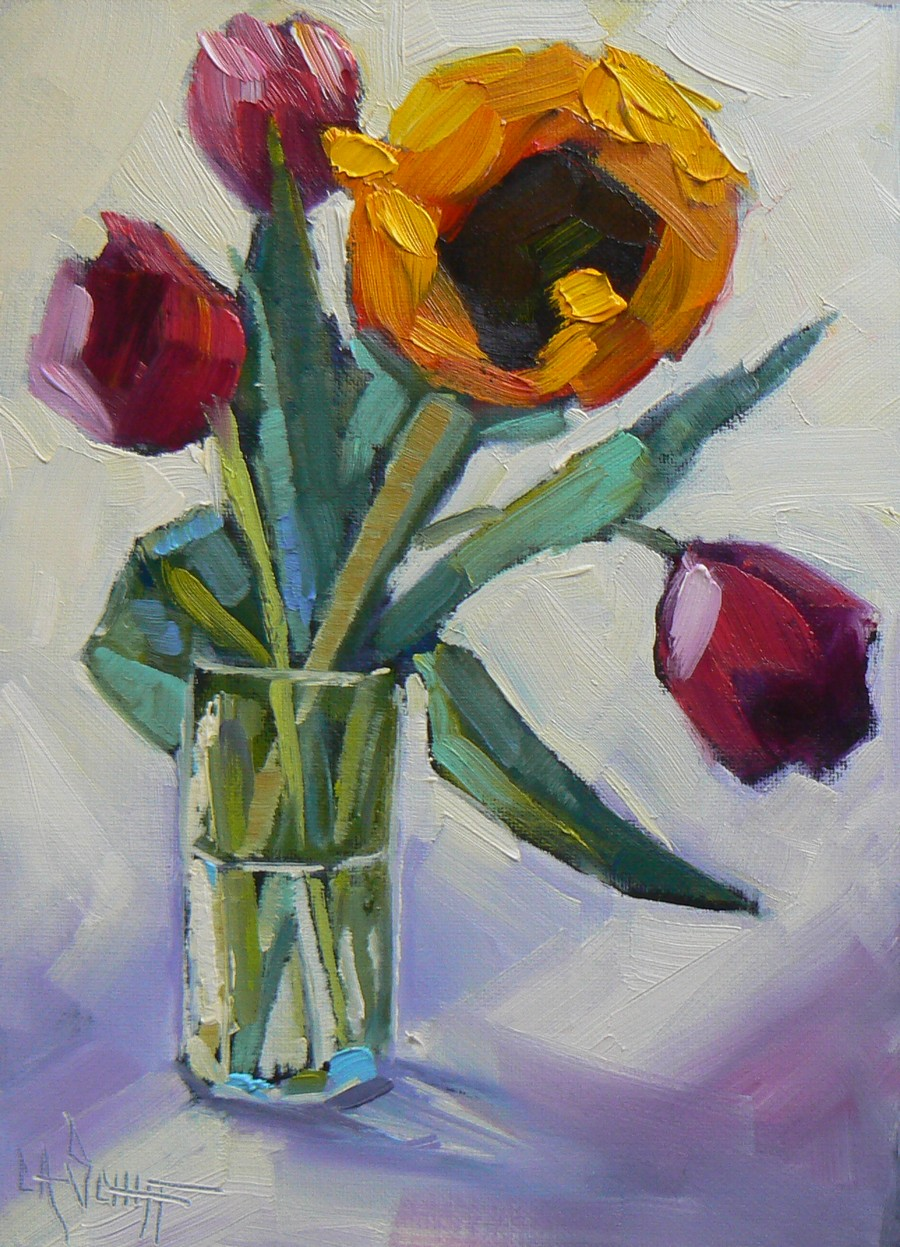 Palette knife painters floral oil painting daily for Flower paintings on canvas