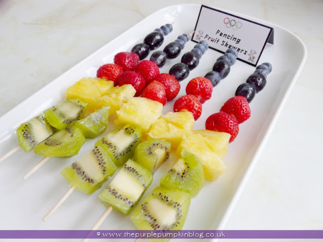 Fencing Fruit Skewers for an #Olympics Party at The Purple Pumpkin Blog