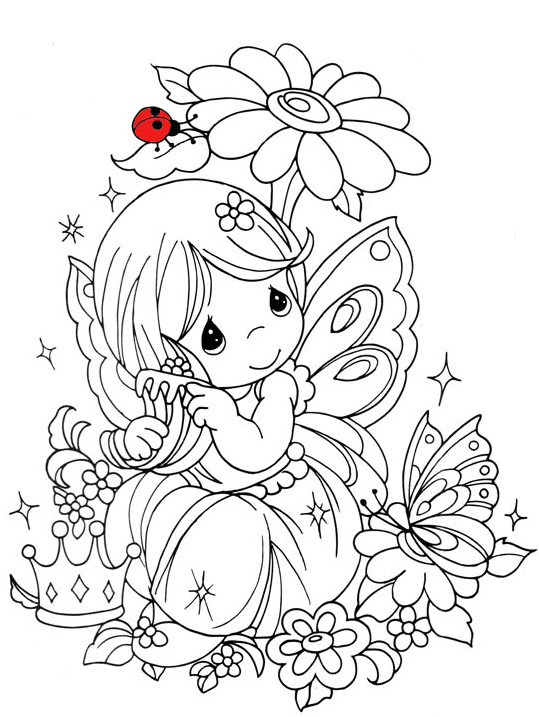 Free coloring pages of fairies to print for Cute fairy coloring pages