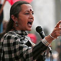 Brinda Karat Communist Party (Marxist) member on stage giving speech