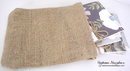 A Happy Set of Cards in Burlap bag by Stephanie Muzzulin | Simply Sentimental Stamp set by Newton's Nook Designs #newtonsnook