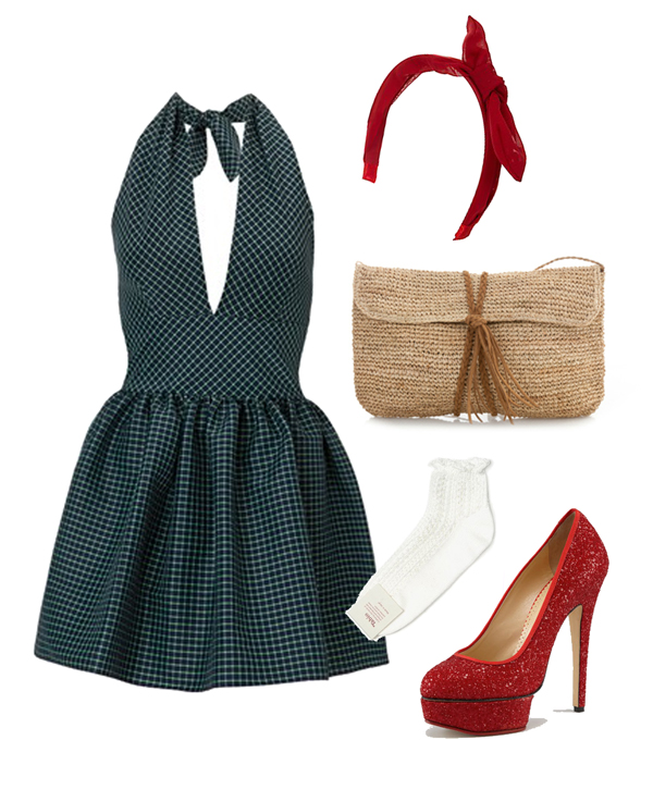 Dorothy, the wizard of oz look, gingham dress, crystal red heels, straw clutch, white frill socks and red bow headband