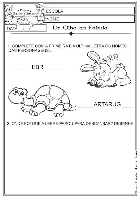 Atividade Fábula Lebre e a Tartaruga  Educação Infantil