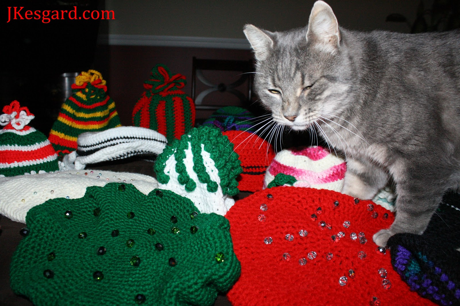 A cat wanders through a pile of crocheted hats