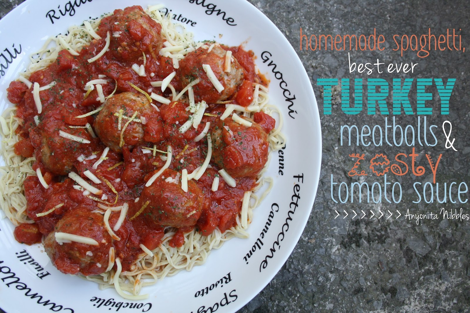... with Best Ever Turkey Meatballs and Tomato Sauce from Anyonita Nibbles