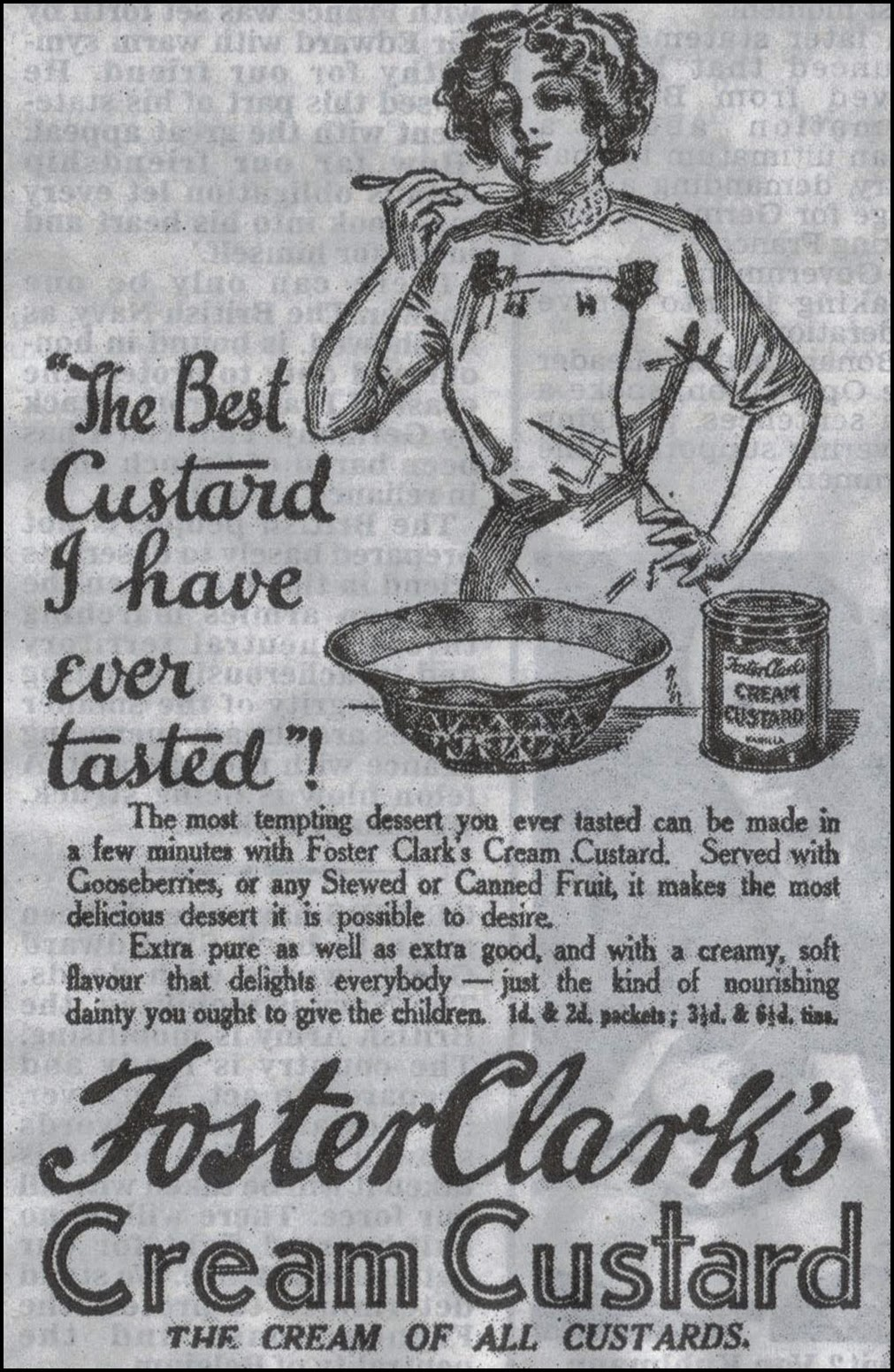 1914 advert for custard