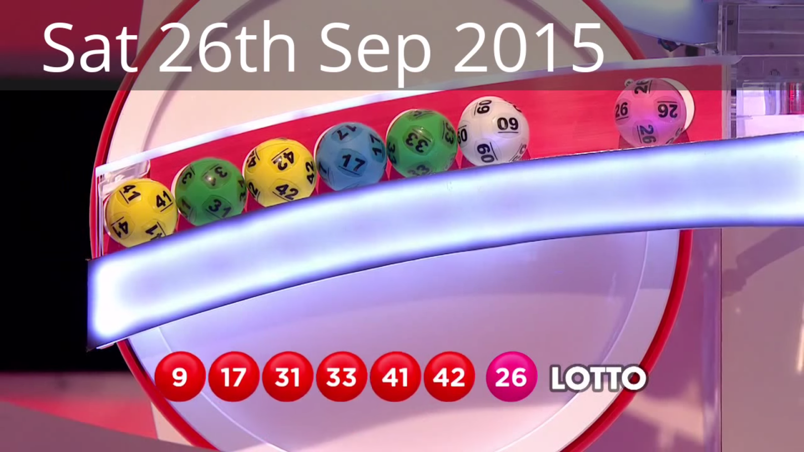 The National Lottery 'Lotto' draw results from Saturday 26th September 2015: 9,17,31,33,41,42; bonus 26