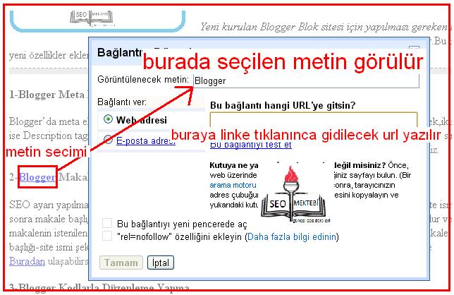 Blogger Yazılarına Bağlantı Linki Ekleme