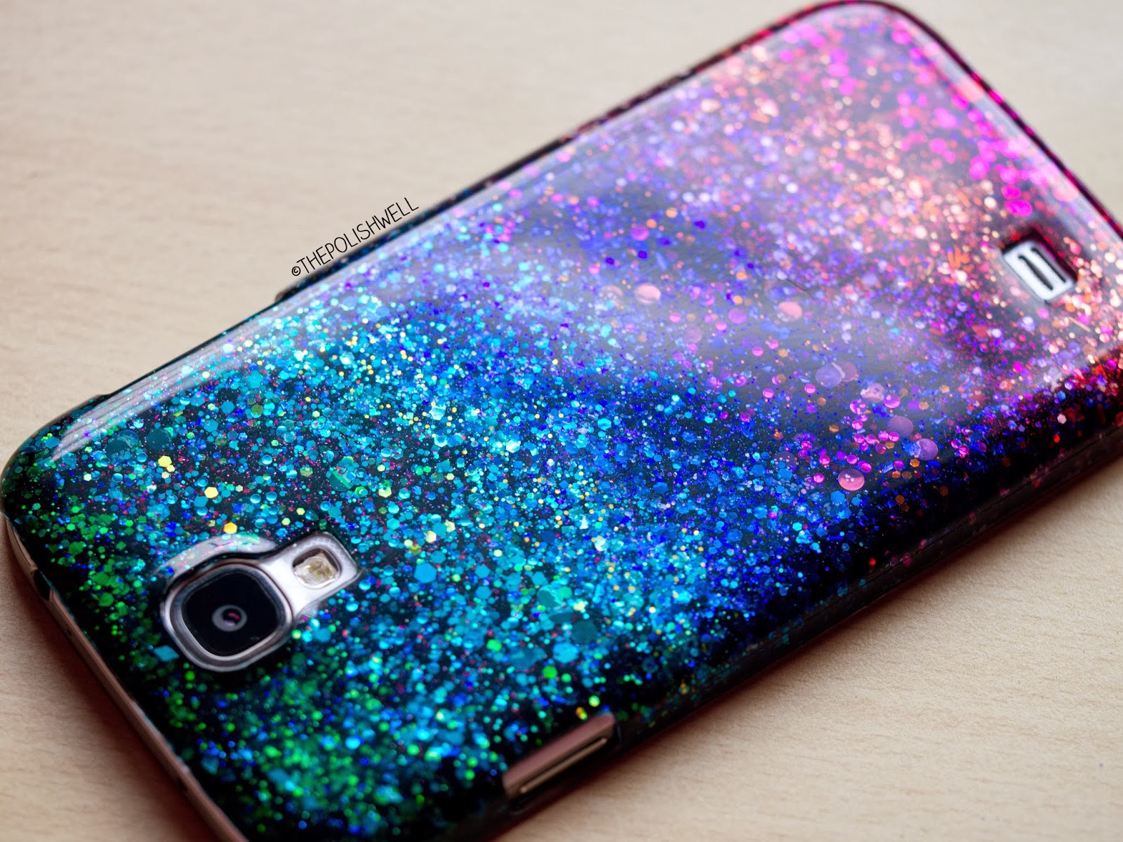 The polish well diy glitter phone cover for Homemade phone case