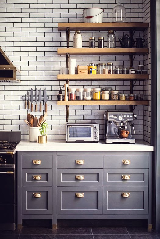grey kitchen w/ subway tile