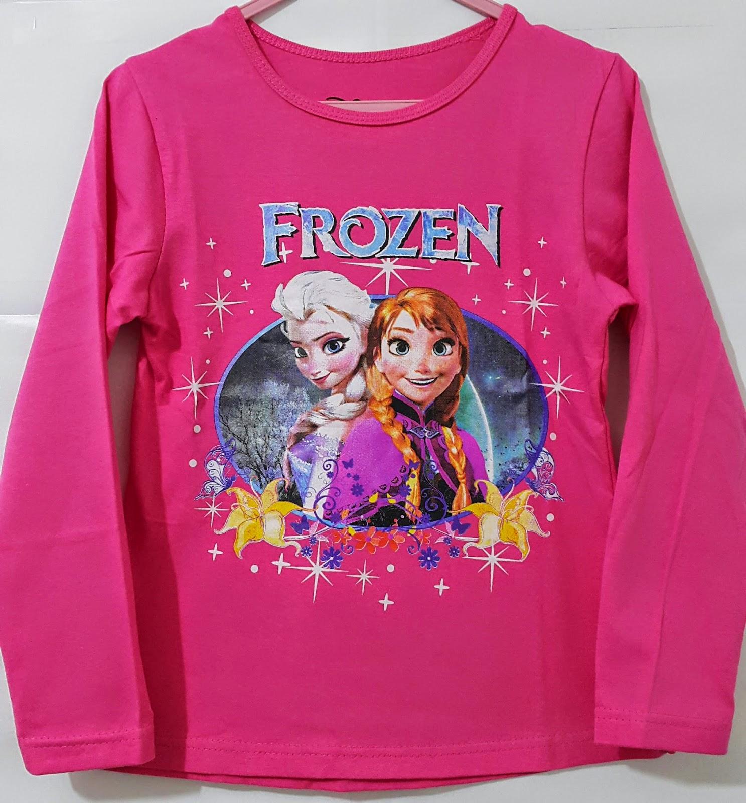 grosir kaos anak karakter Frozen Lengan panjang