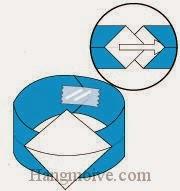 Bước 8: Luồn một đầu giấy vào giữa hai khe của đầu kia và dùng băng dính dán lại.