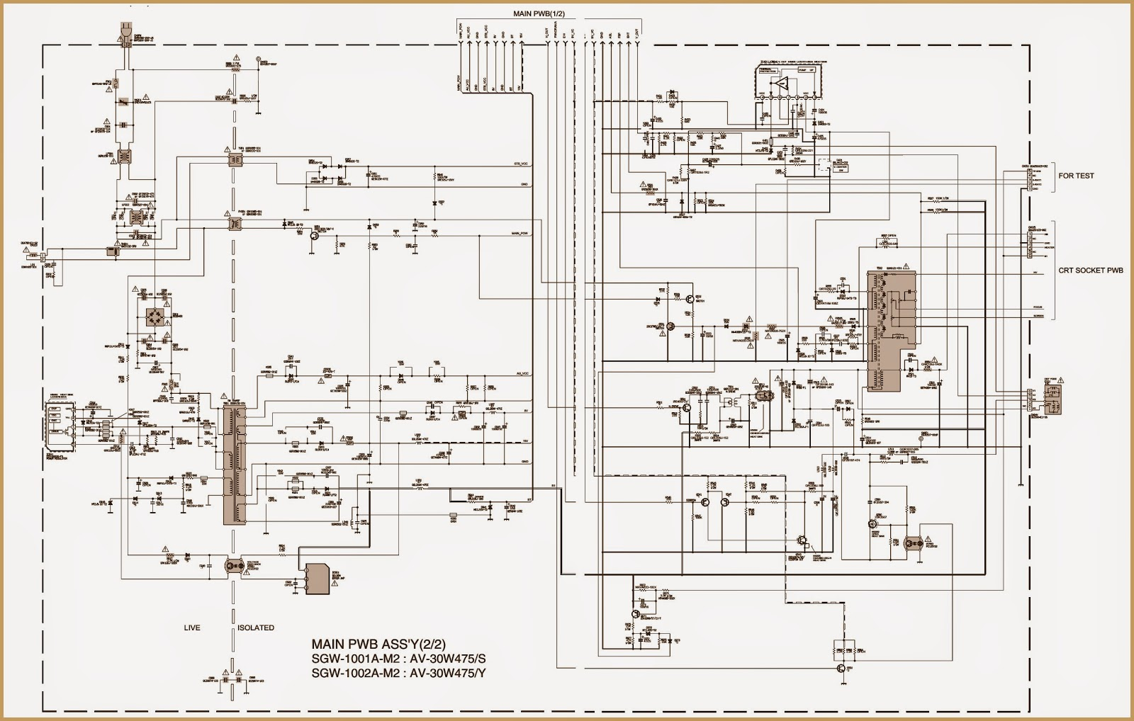 Jvc Av30w475 Crt Tv Smps Circuit Diagram Urc Set Up Codes Wiring Pwb Part At Main Board Solder Side
