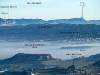 Zoom a la zona de les Guilleries i el Far des del Mirador del Roc Gros