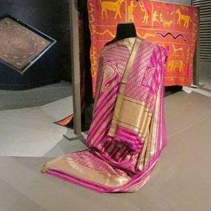 Banarasi saree displayed at the National Museum, Delhi, in 2014.