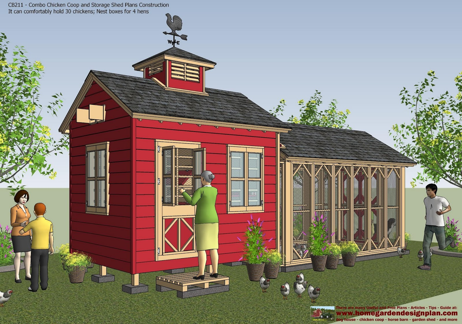 CB211   Combo Chicken Coop Garden Shed Plans