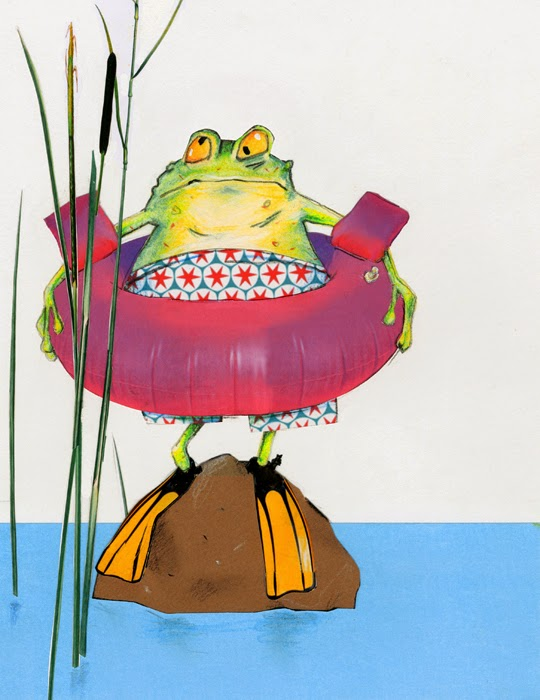 a swimming frog illustration by Robert Wagt