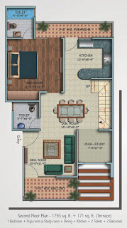 Oxford Square :: Floor Plans,Super Area 125 Sq. Yd. :-Second Floor 1 Bedroom + Study Room + Puja Room + Dining + Kitchen + 2 Toilets + 2 Balconies Super Area: 1793 Sq. Ft. + 178 Sq. Ft. (Terrace)