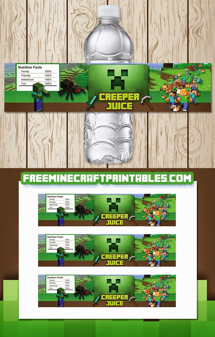 Free Minecraft Printables: Free Printable Minecraft Water Bottle