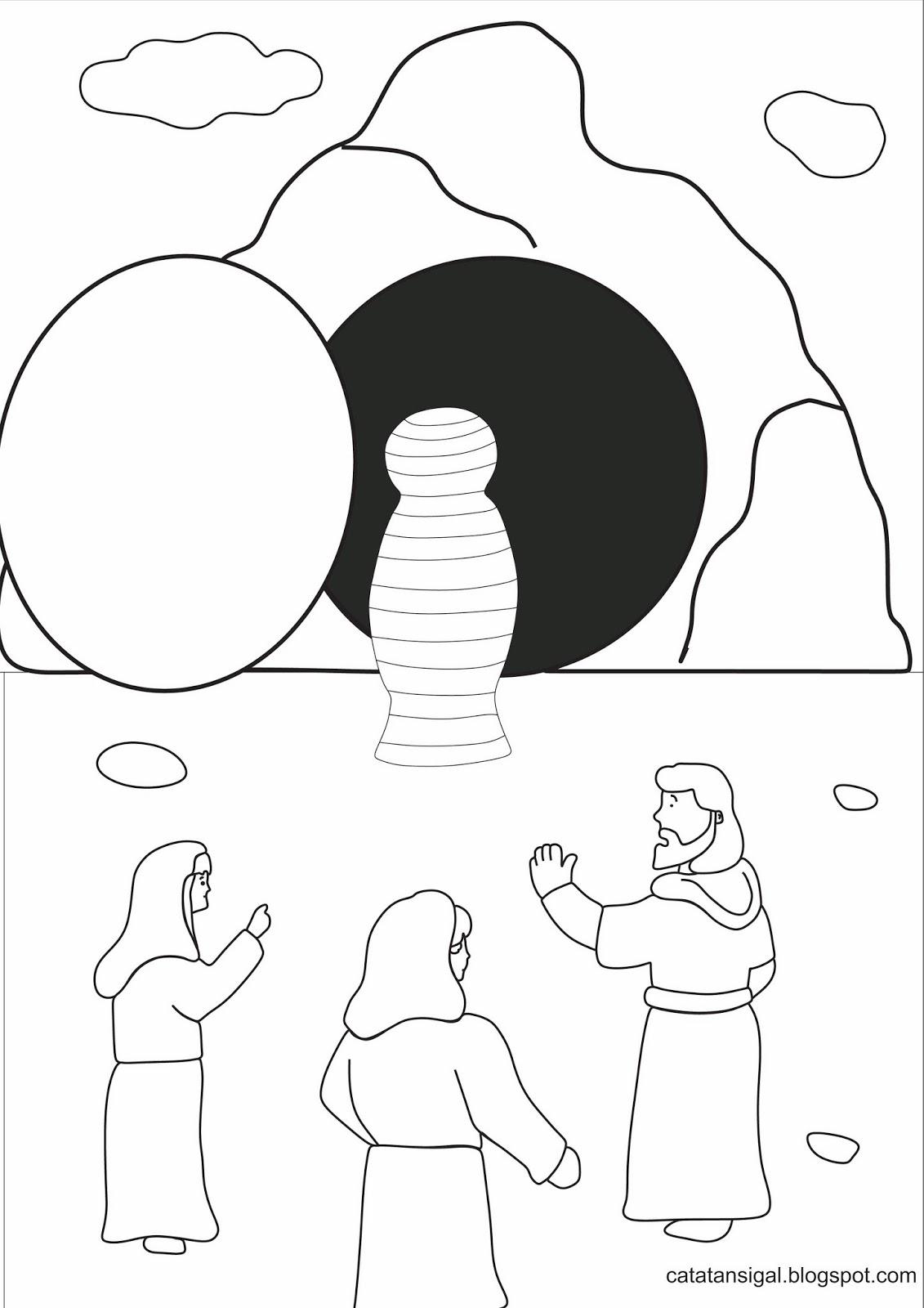 """bahan kreativitas tema """"Yesus membangkitkan Lazarus"""" · membuat alat peraga buat cerita """"Yesus membangkitkan Lazarus"""" · Mewarnai Gambar"""